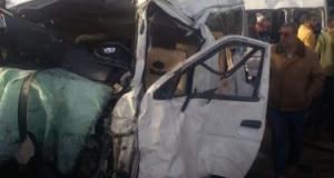 إصابة 3 فى حادث تصادم دراجة نارية بميكروباص على الطريق الزراعى ببنى سويف
